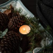 pinecones with candle