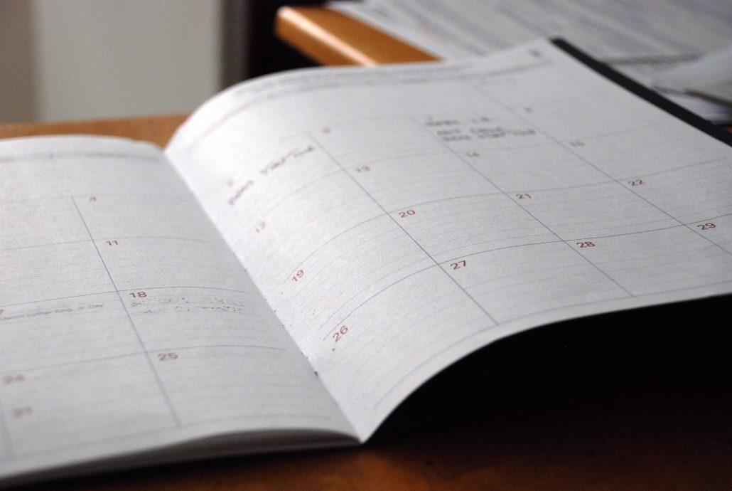 planner book open