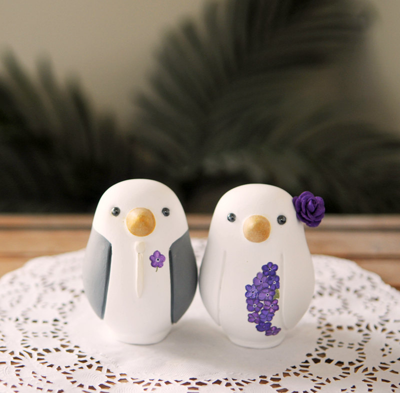 Married penguin cake toppers