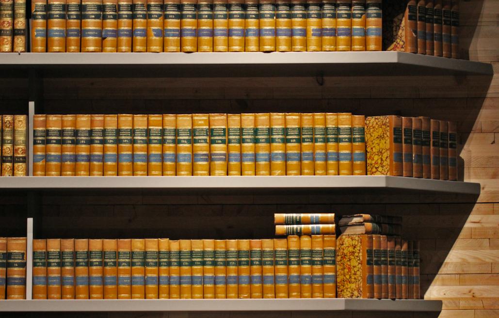 brown books on shelf