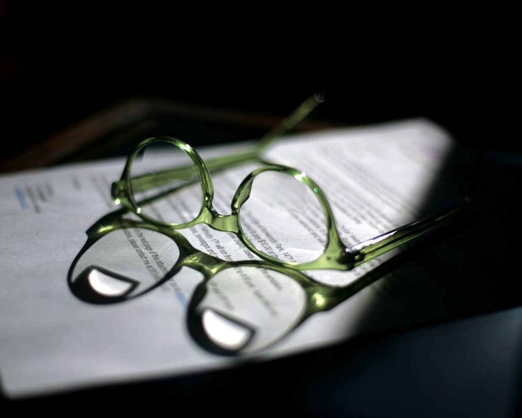 Glasses on estate planning documents