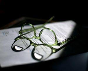 Glasses on estate planning documents