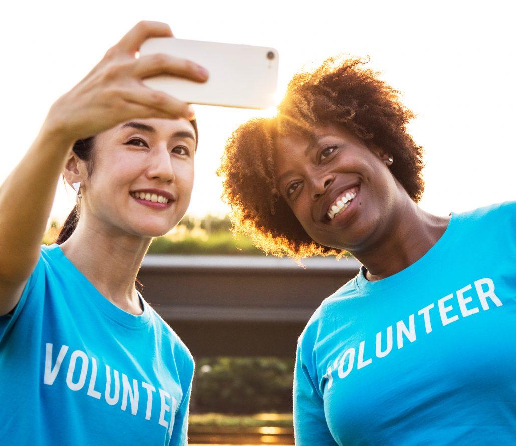 volunteers taking selfie