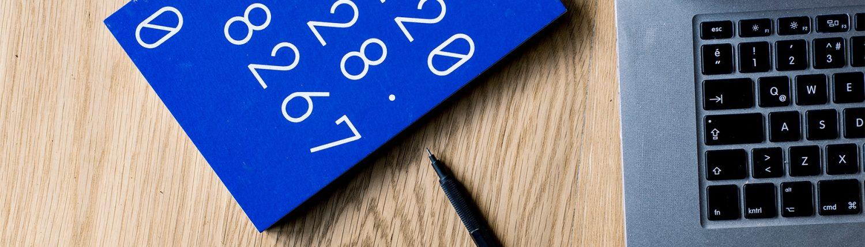 Blue journal on desk