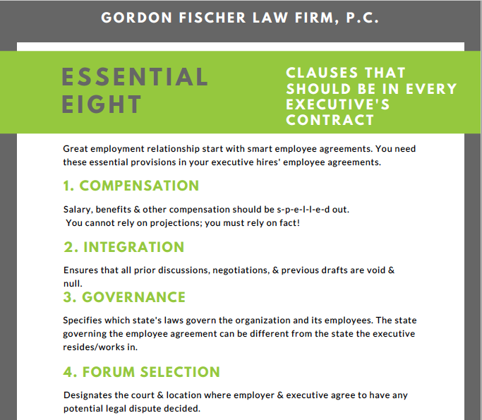 Executive employee agreement essential 8