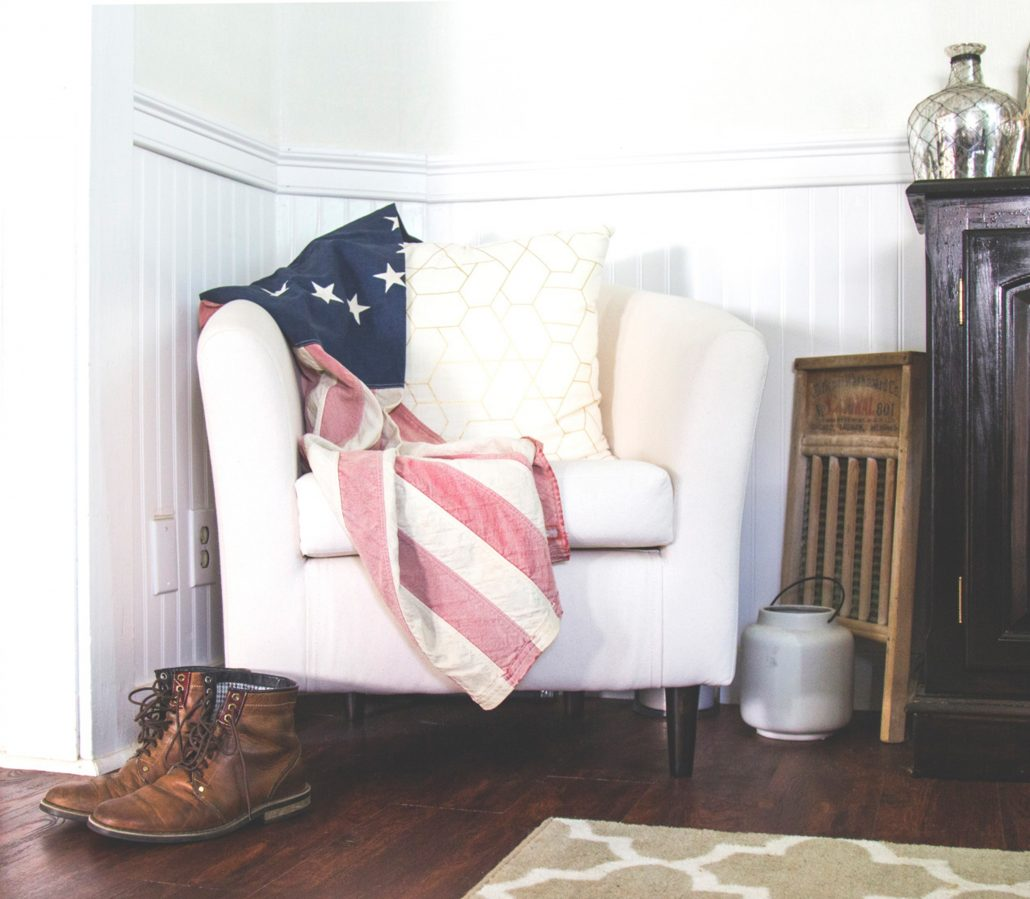 American flag on chair