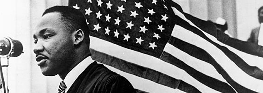 Marting Luther King Jr. and American Flag