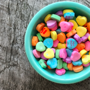bowl of heart candy