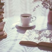table with book and tea