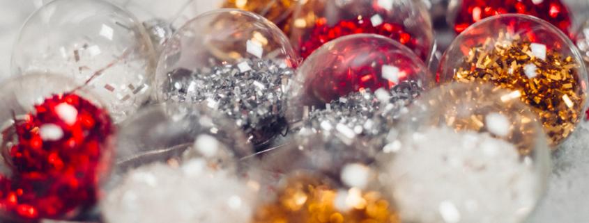 glittery ornaments