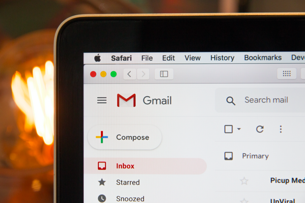 gmail on screen
