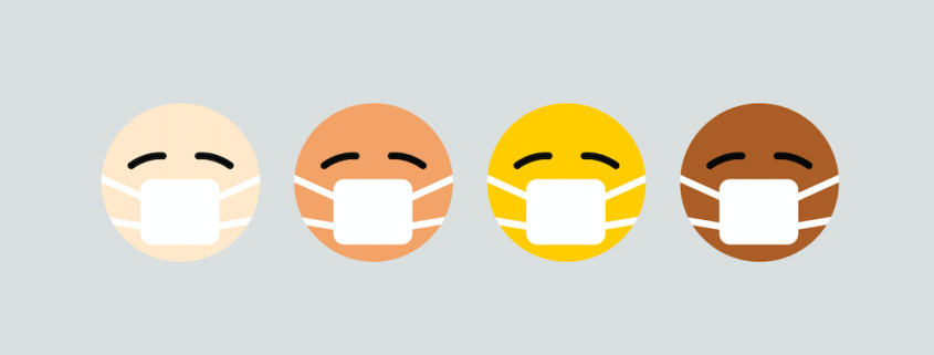 four faces covered by health masks